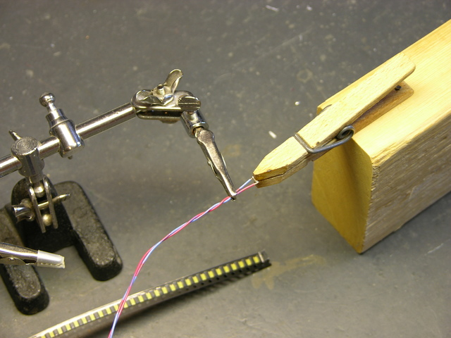 Soldering wires to SMT LEDs with clothespin vise