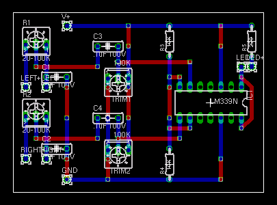 Breadboard layout of speaker power detector