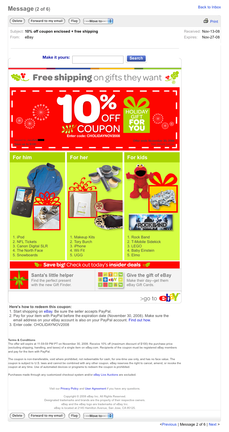 eBay coupon for 10% off plus free shipping