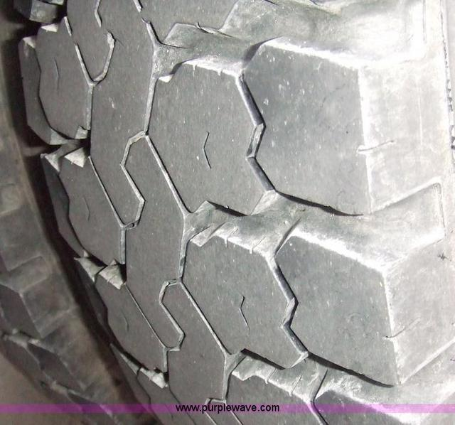 Tire tread on converted schoolbus