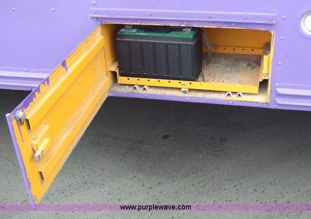 Battery compartment on converted schoolbus