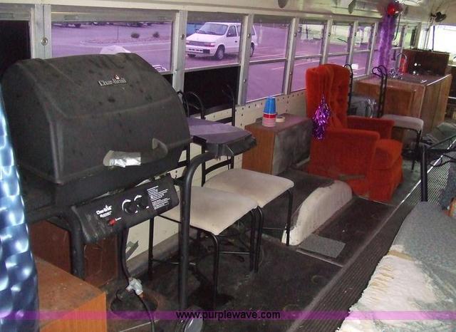 Converted schoolbus, left rear interior