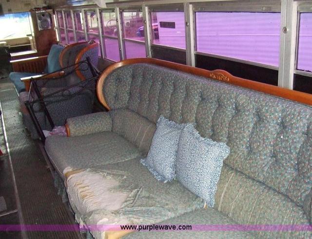 Converted schoolbus, right rear interior