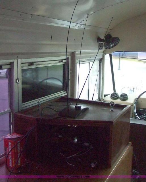 Converted schoolbus, left front interior