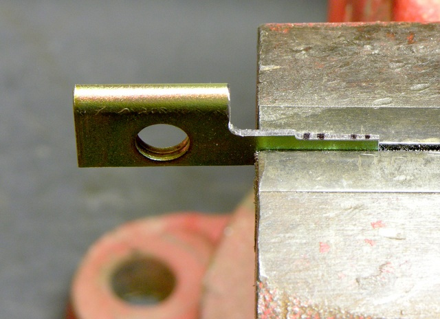 Homemade key clamped and marked for second stage of bitting