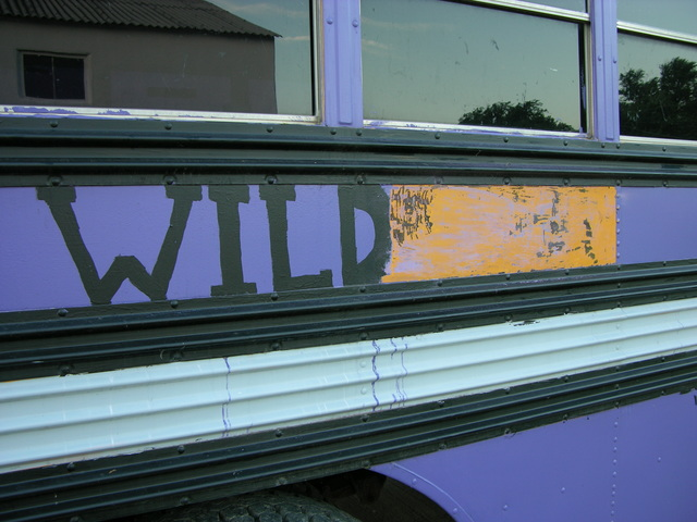 Purple paint stripped from schoolbus with heat gun and putty knife