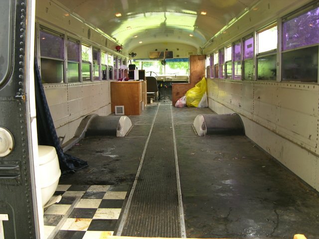 Forward view of schoolbus interior