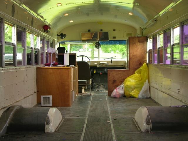 Front half of schoolbus interior