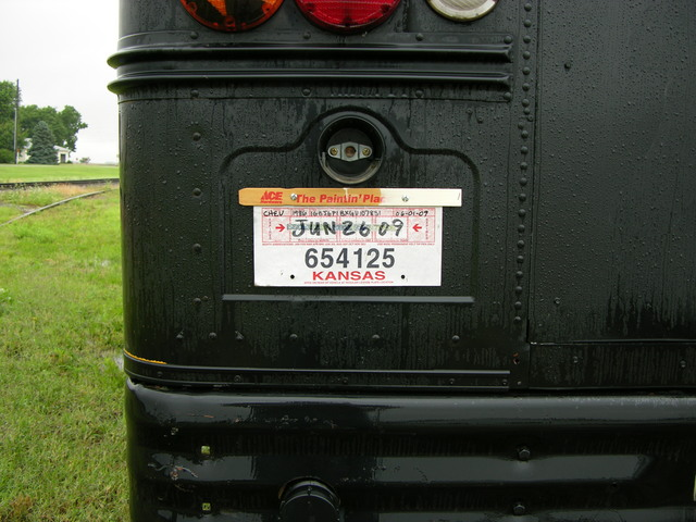 30-day tag on rear of schoolbus