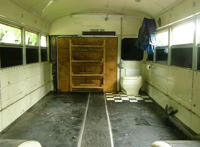 Filthy rear area of schoolbus