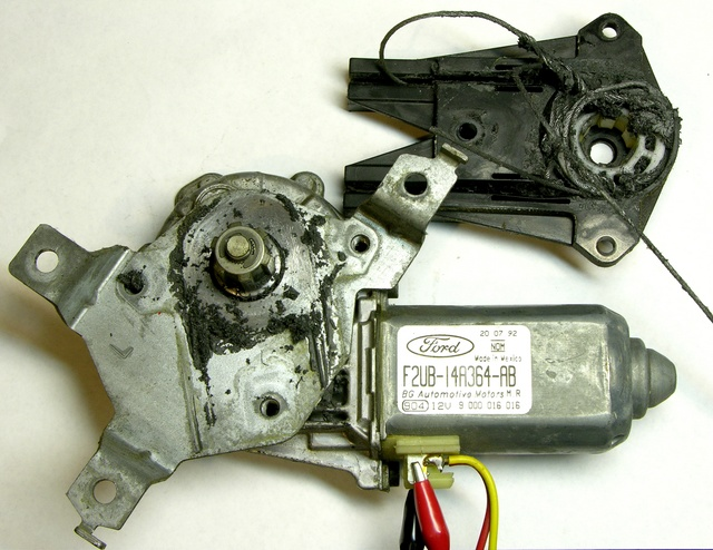 Automotive power window motor assembly, opened