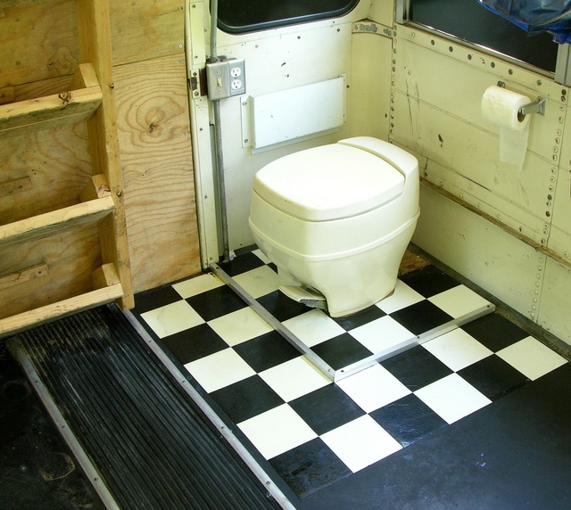 Bathroom area of partially converted schoolbus
