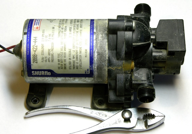 RV fresh water pump with cracked housing
