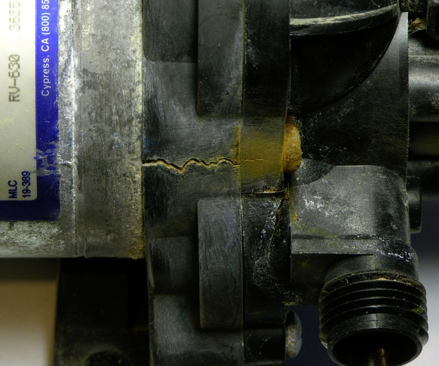 Crack in RV fresh water pump housing
