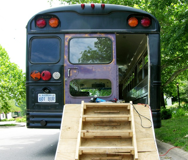 Schoolbus with salvage bus door fitted in place, rear view