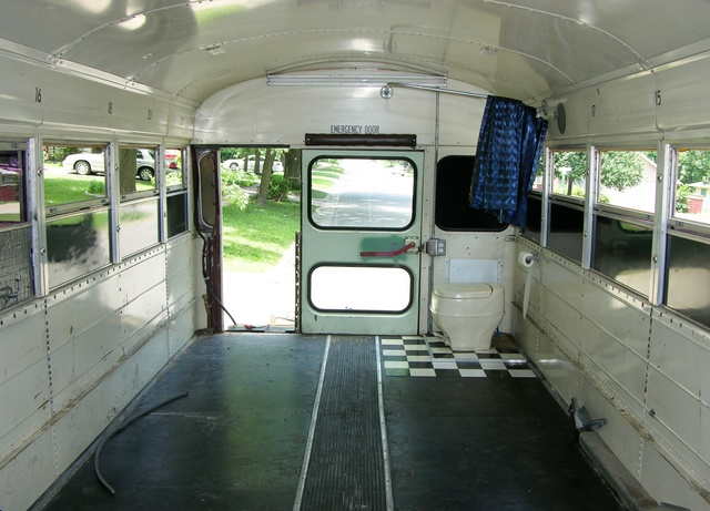 Schoolbus with salvage bus door fitted in place, interior view