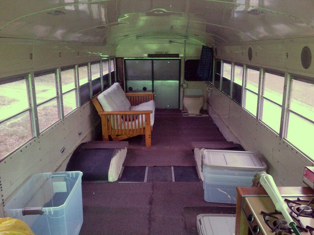 Schoolbus RV conversion interior, rearward view