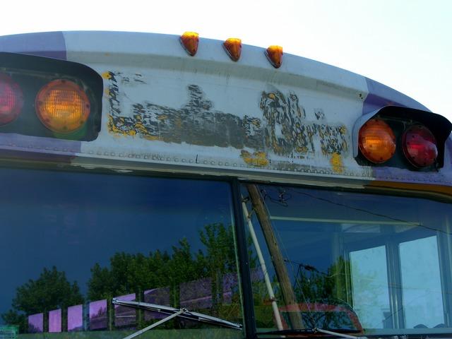 Schoolbus front-end header, sanded