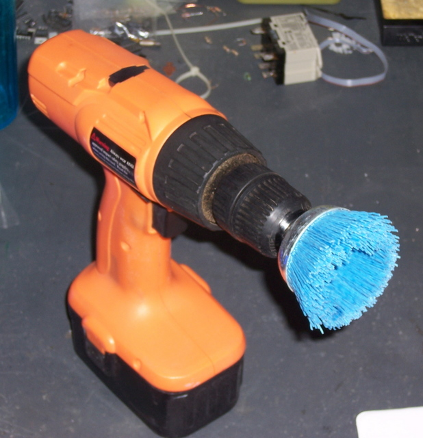 Drill with Fine Abrasive Brush