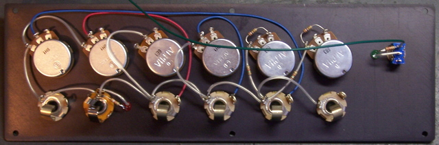 Theremax control panel, back with signal wires installed
