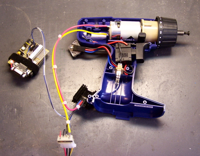 Cordless drill motor wired to MOSFET speed controller