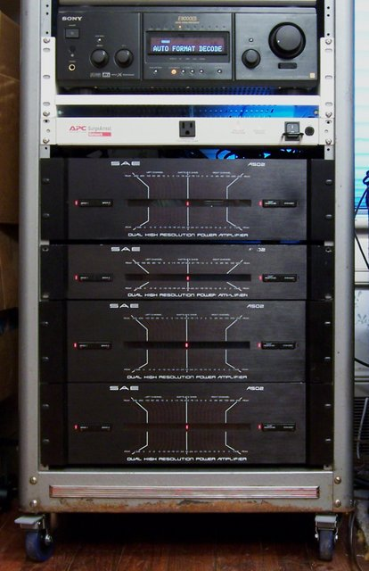 My stereo rack, with Sony preamp and SAE amplifier stack