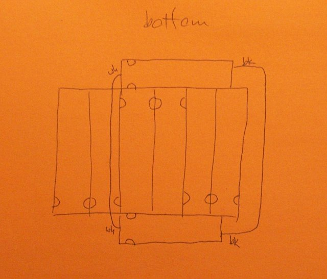 PowerBook battery hookup diagram, bottom side
