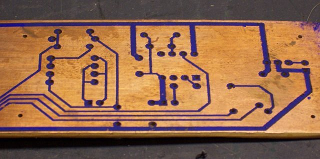 Press 'n' Peel Blue iron-on PCB transfer; good adhesion throughout