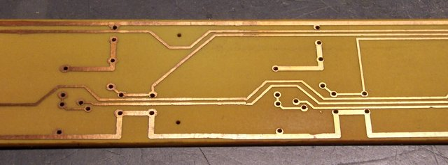Etched, cleaned PCB