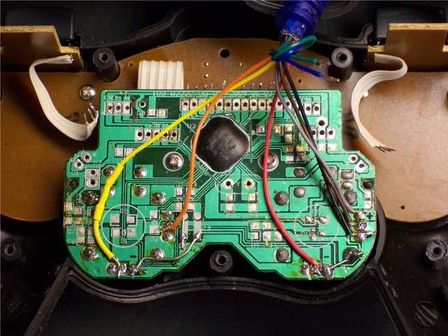 Game controller, rewired for direct access to analog joysticks
