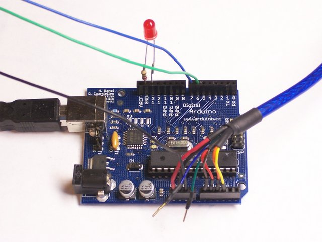 Arduino with joystick, LED, and stepper controller attached