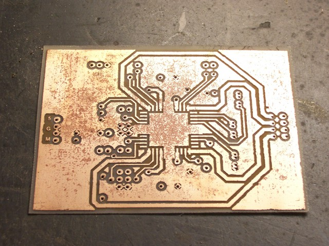Etched PC board with pockmarks