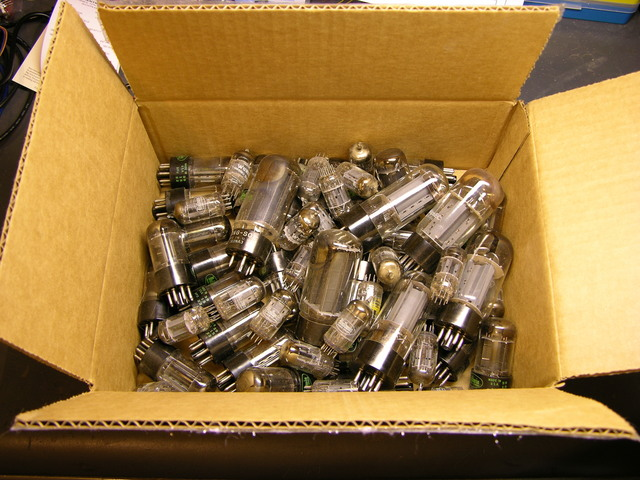 Box of vacuum tubes from Baldwin 45HP2 electronic organ