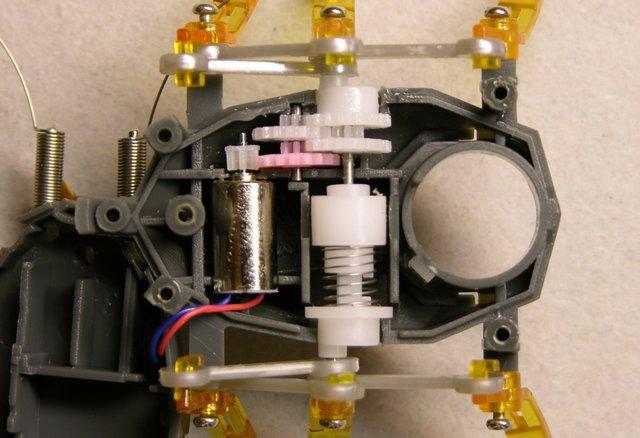 Hexbug motor, geartrain, and reversing clutch