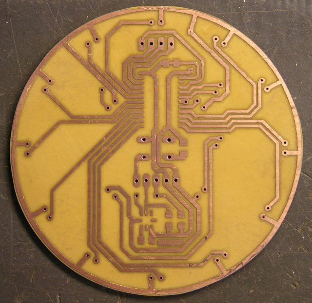 LED puck I/O prototype PCB, cleaned and cut