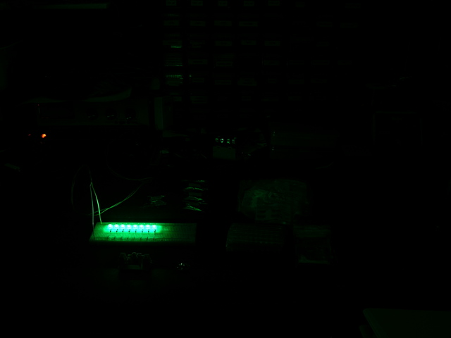 Eight green LEDs