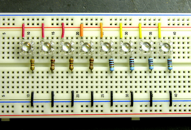 Square 5mm LEDs on breadboard
