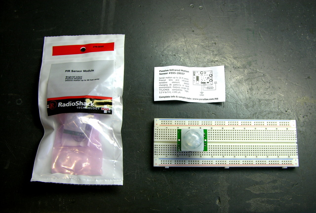 Two Parallax / Radio Shack motion sensor kits