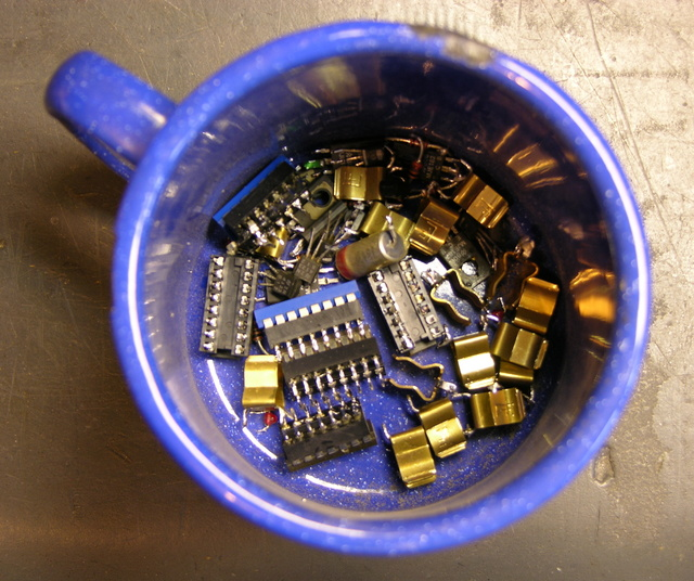Cup of salvaged electronic components