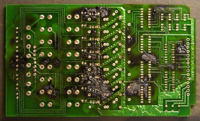 Scorched circuit board