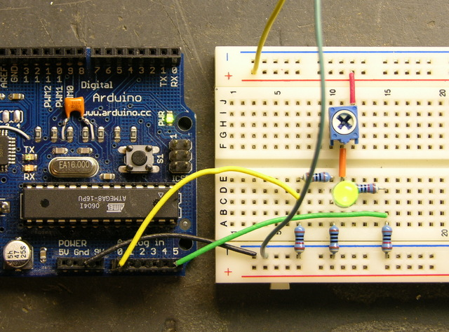 LED calculator circuit, breadboarded