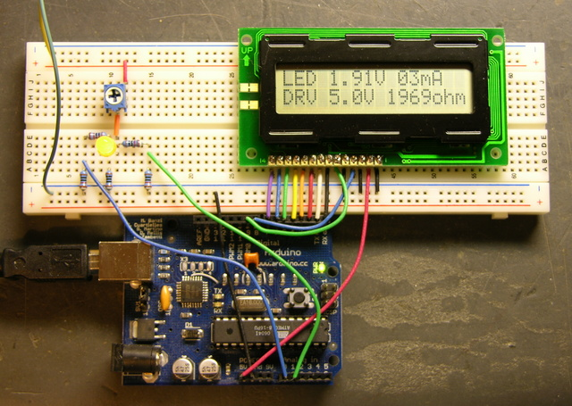 LED calculator prototype with LCD on breadboard