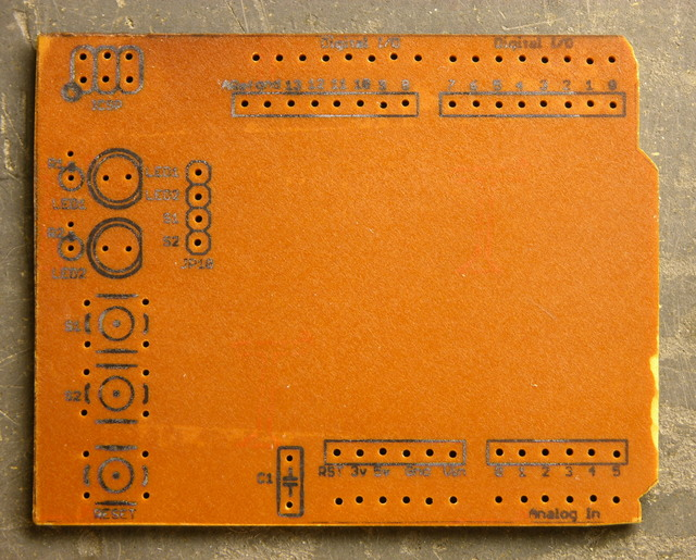 Arduino protoshield PCB with iron-on silkscreen