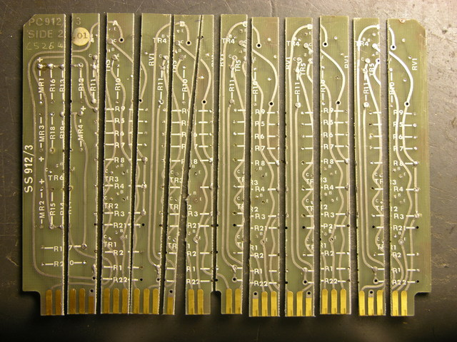 Circuit board cut into strips