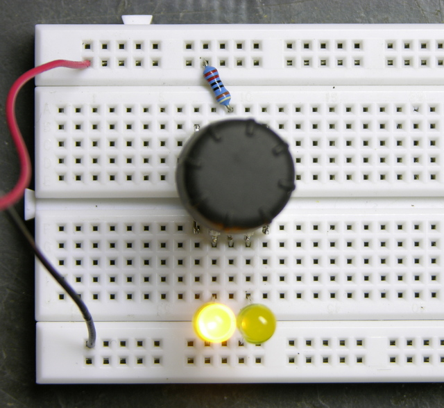 Rotary encoder, one LED on