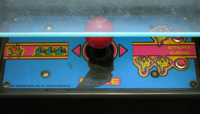 Ms Pac-Man cocktail control panel