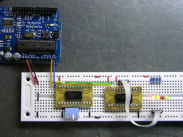 Arduino with I2C connection to TI PCA9535 and PCA9555 GPIO chips