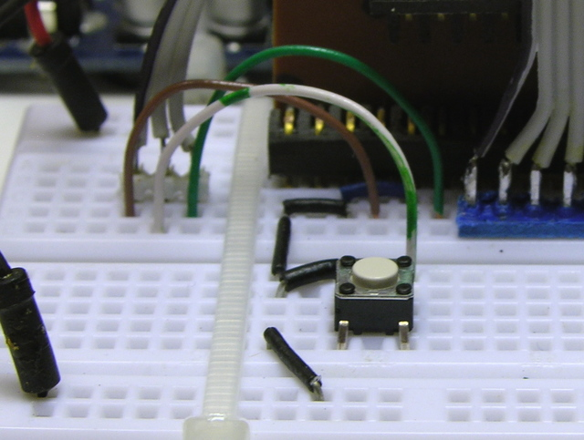 Breadboard with telephone wire jumpers