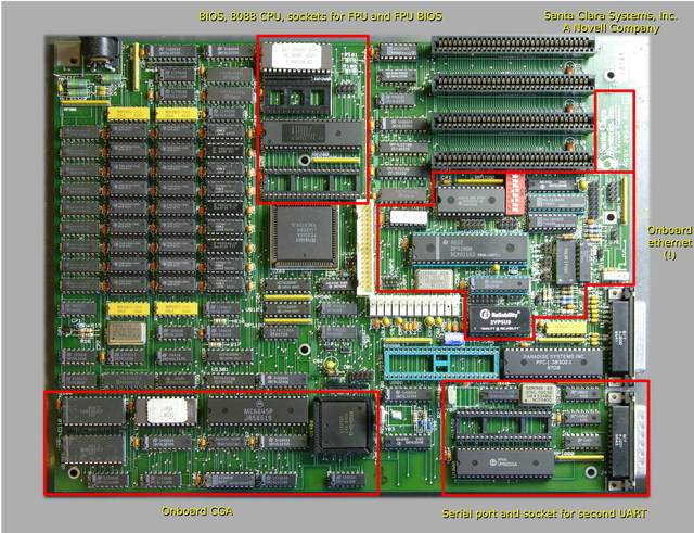 Novell 8088 motherboard with onboard ethernet