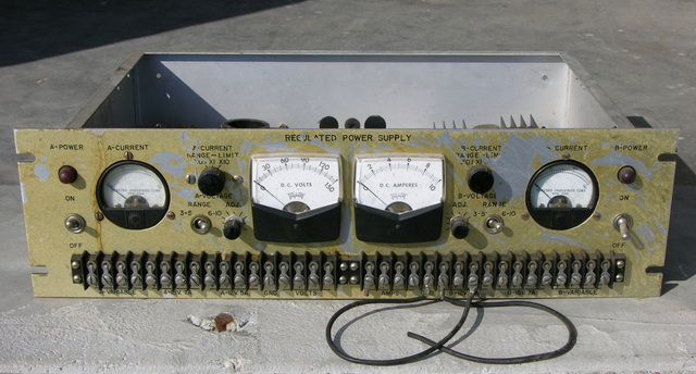 Case and panel meters from multi-voltage power supply, front